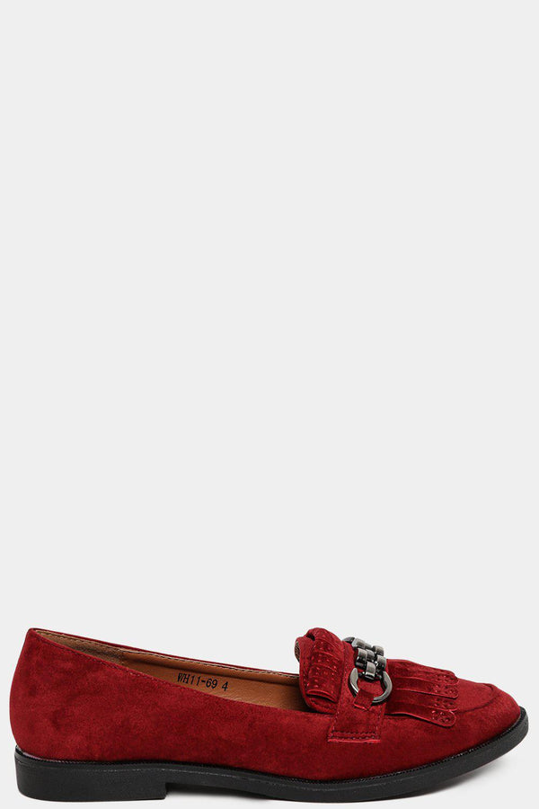 Wine Velvet Fringed Chain Detail Loafers-SinglePrice