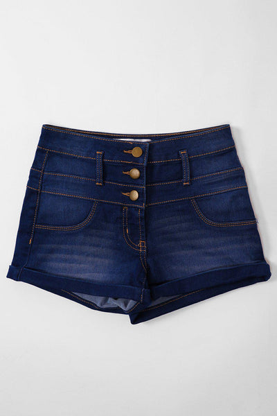 Light Blue Triple Brass Buttons Jean Shorts-SinglePrice