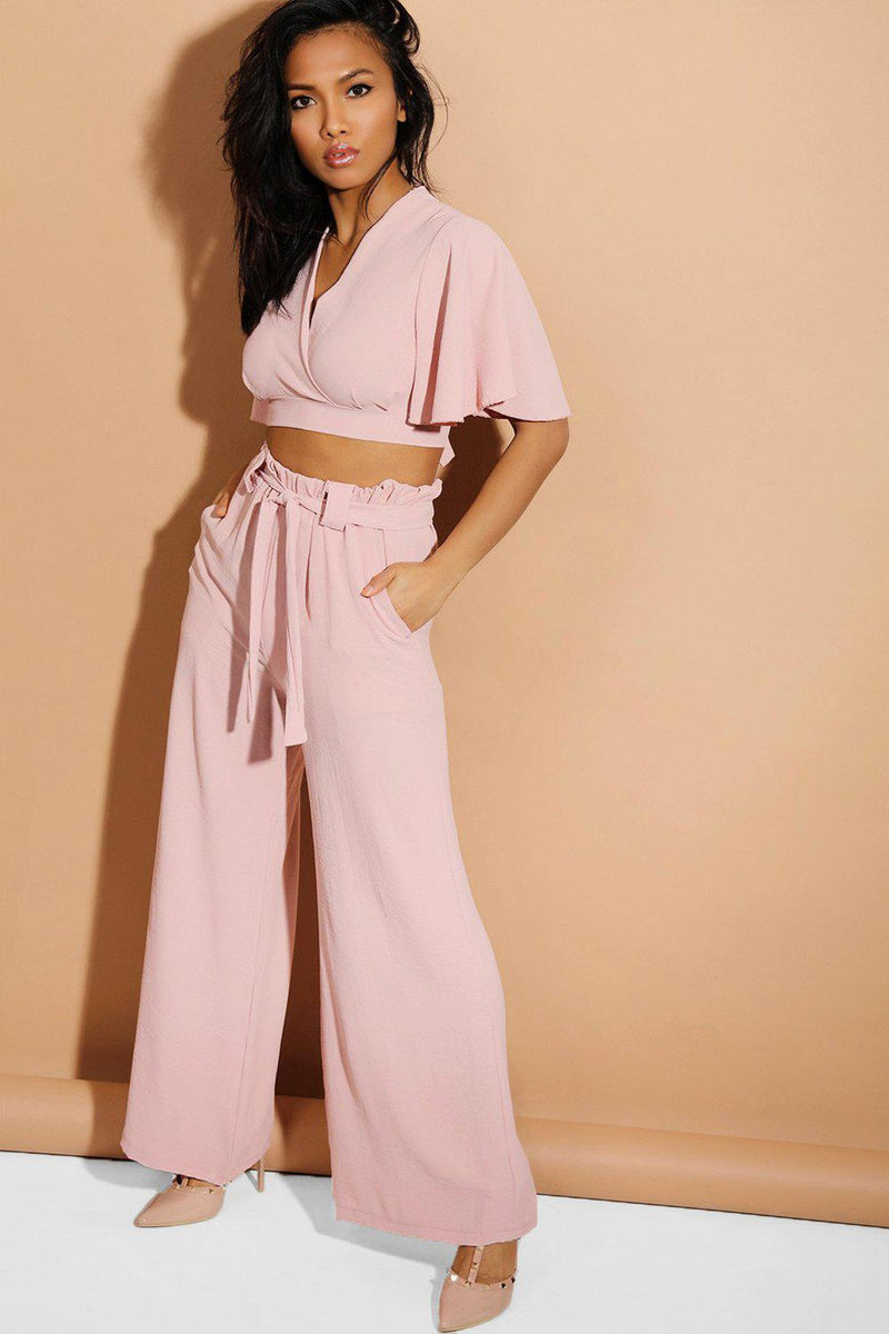 Pink Back Tie Crop Top And Palazzo Trousers Set - SinglePrice