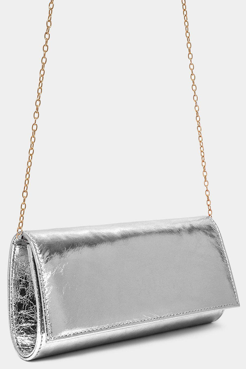 Metallic Silver Classic Clutch Bag - SinglePrice