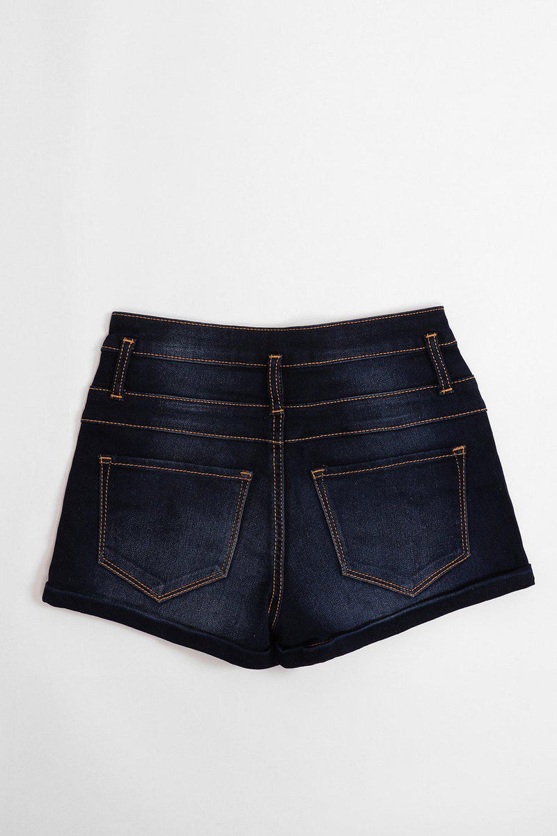 Dark Blue Triple Brass Buttons Jean Shorts - SinglePrice