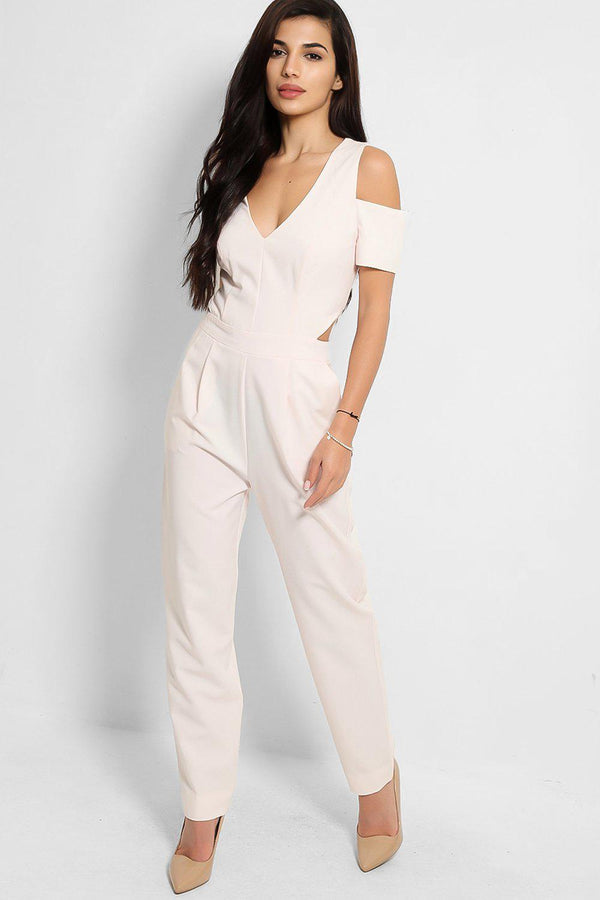 Light Pink Cold Shoulder Cut Out Sides Jumpsuit - SinglePrice