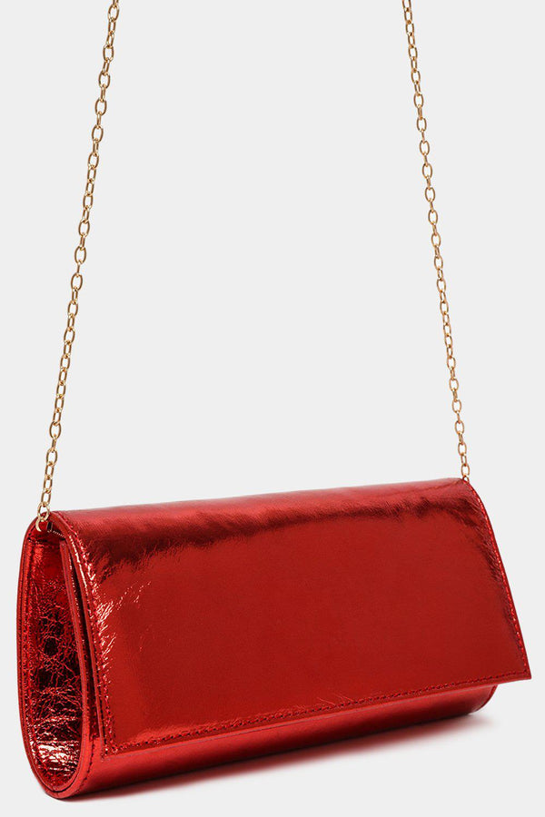 Metallic Red Classic Clutch Bag-SinglePrice