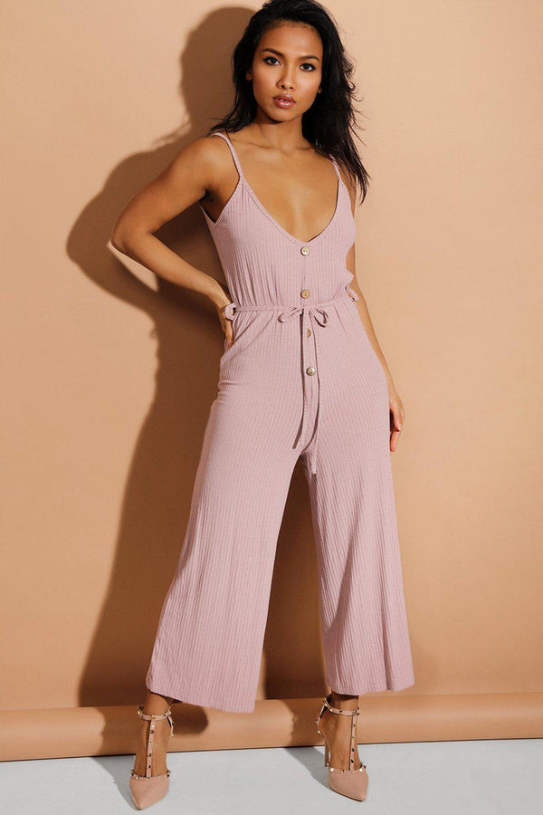 Pink Button Details Waist-Tie Wide Leg Ribbed Jumpsuit - SinglePrice