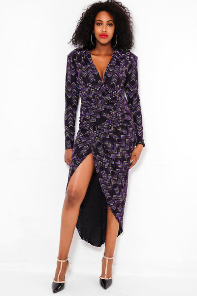 Open Leg Draped Purple Dress-SinglePrice