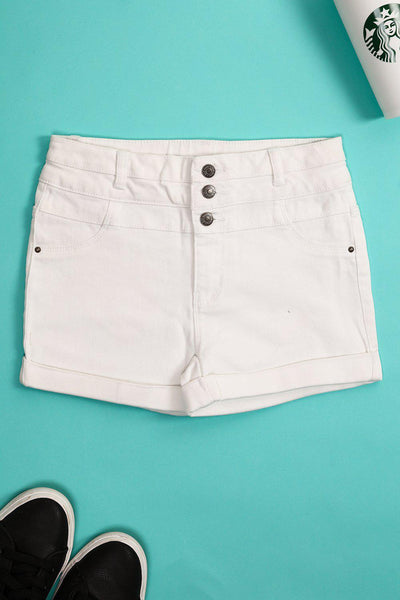White Hight Waisted Denim Shorts-SinglePrice