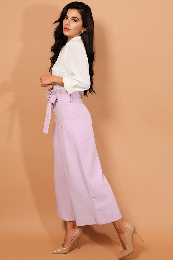 Lilac Belted Paper-Bag Waist Culotte Trousers - SinglePrice