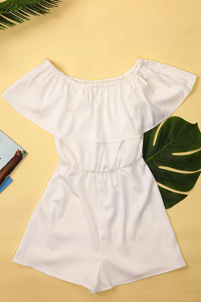 White Off Shoulder Playsuit-SinglePrice