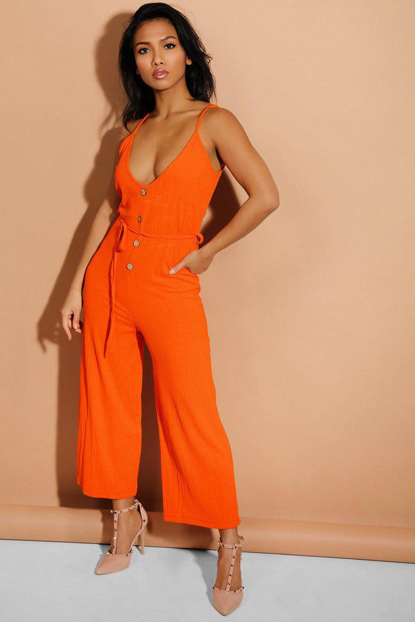 Orange Button Details Waist-Tie Wide Leg Ribbed Jumpsuit - SinglePrice