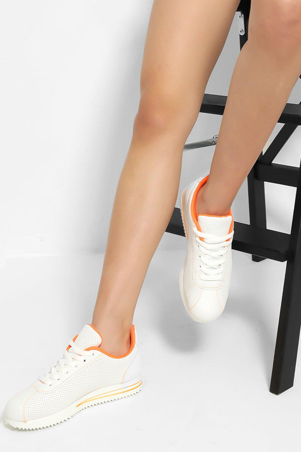 White Orange Perforated Trainers - SinglePrice