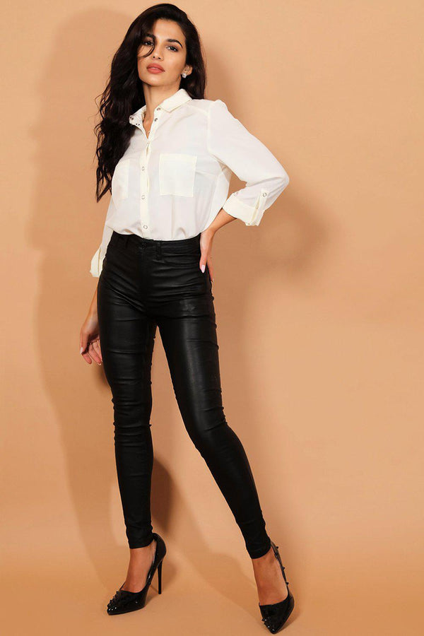 Black High-Rise Waist Coated Jeans-SinglePrice