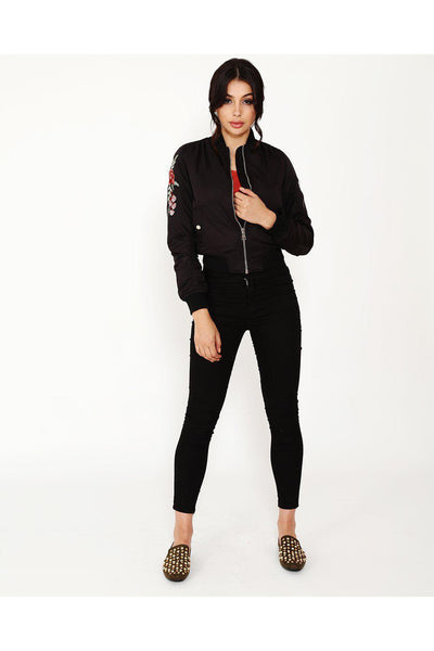 Flower Embroidered Button Pockets Black Bomber-SinglePrice