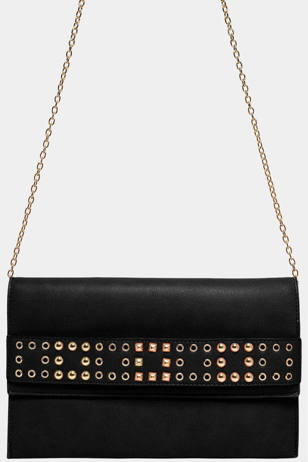 Studded Strap Front Detail Black Large Clutch Bag - SinglePrice