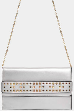 Studded Strap Front Detail Silver Large Clutch Bag - SinglePrice