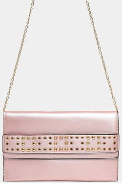 Studded Strap Front Detail Metallic Pink Large Clutch Bag - SinglePrice