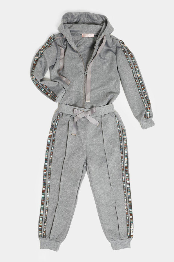 Grey Multicolour Beaded Stripes Kids Tracksuit - SinglePrice