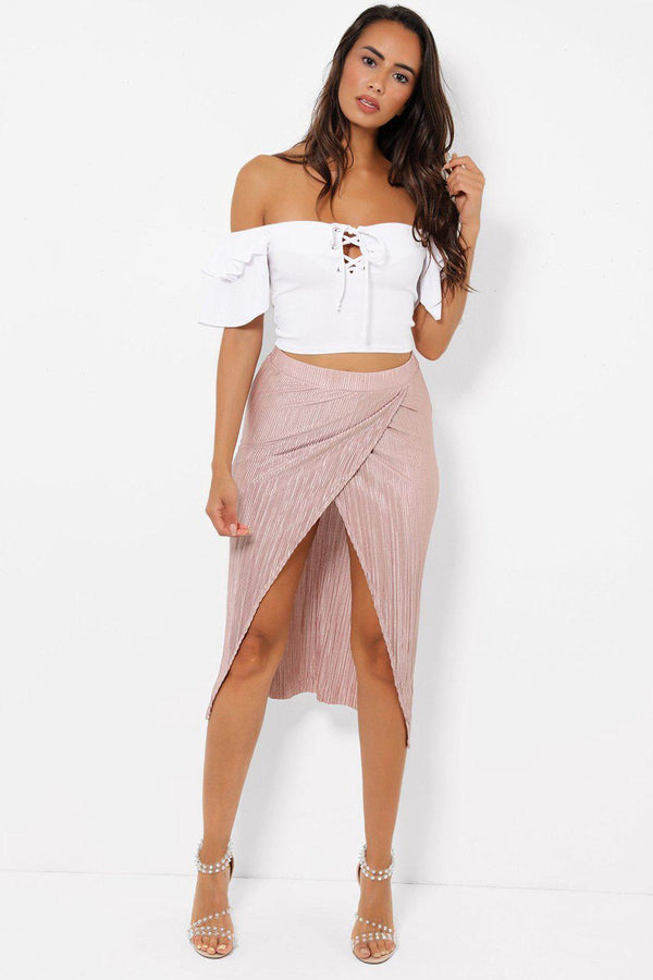 Front Split Pleated Blush Midi Skirt