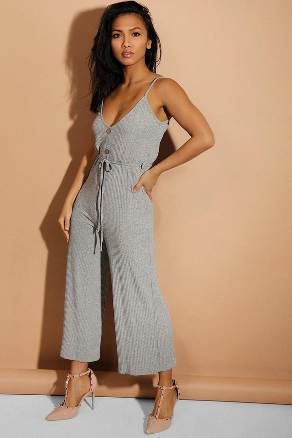 Grey Button Details Waist-Tie Wide Leg Ribbed Jumpsuit - SinglePrice