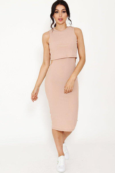 Nude Cut Out Sides Scuba Midi Dress-SinglePrice