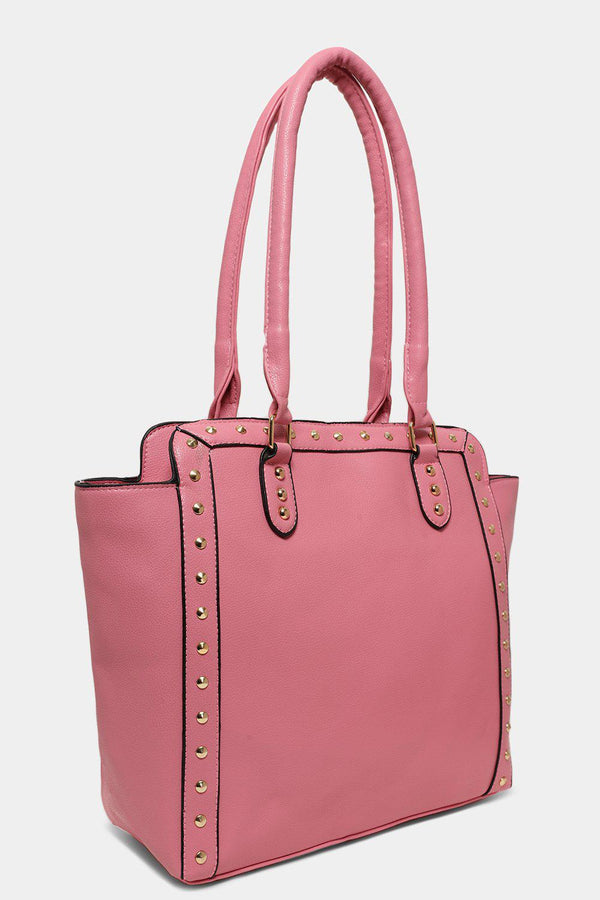 Pink Gold Studs Trim Business Bag - SinglePrice