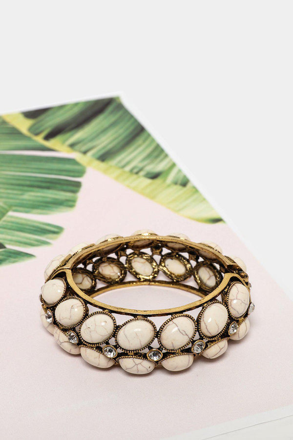 White Turquoise And Crystals Gold Cuff Bracelet-SinglePrice