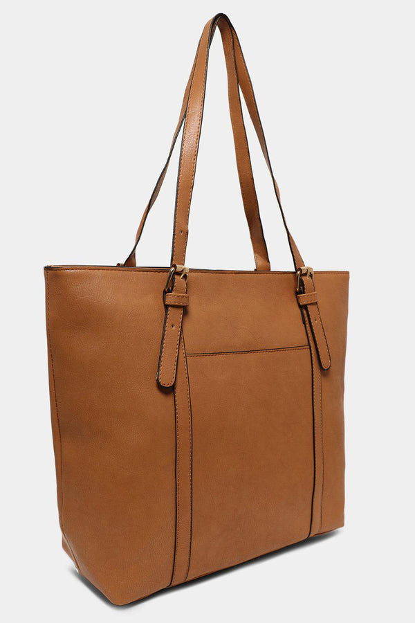 Tan Gold Buckles Strap Large Tote Bag - SinglePrice
