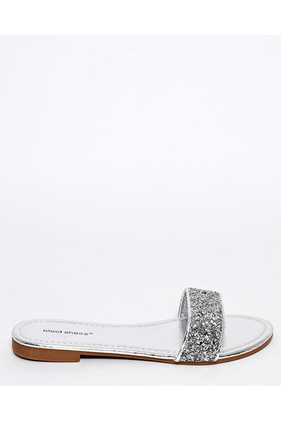 Silver Glitter Post Toe Sandals-SinglePrice