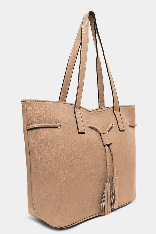Beige Drawstring Tassel Top Large Tote Bag - SinglePrice