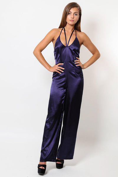 V-Neck Strap Wide Leg Navy Satin Jumpsuit-SinglePrice