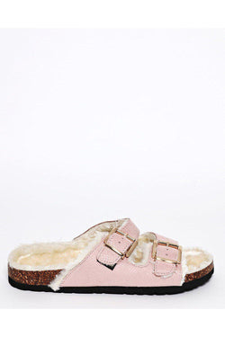 Get Double Buckle Faux Fur Lined Pink