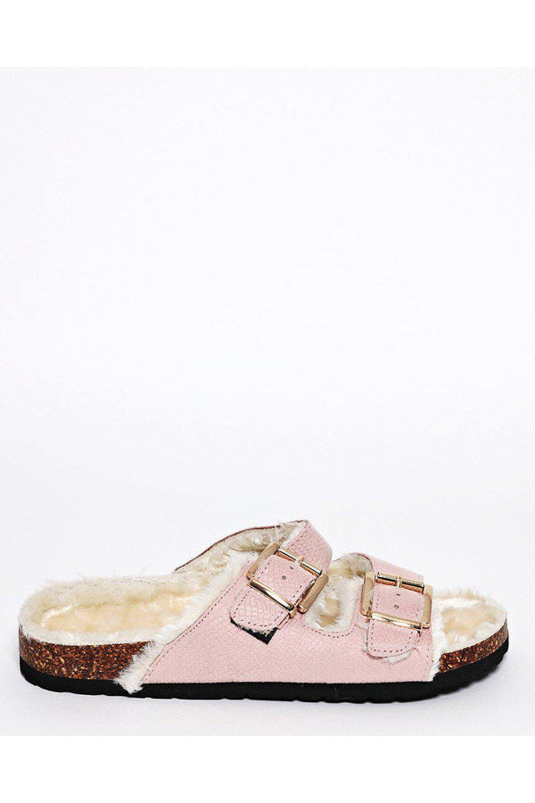 Double Buckle Faux Fur Lined Pink Sliders-SinglePrice