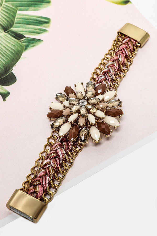 Multicoloure Thread Crystal Flower Magnetic Bracelet-SinglePrice
