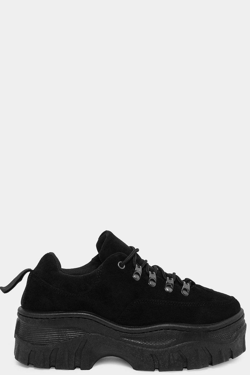 Black Vegan Suede Old School Chunky Trainers - SinglePrice
