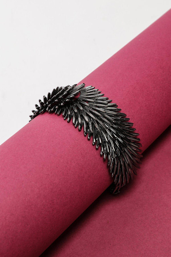 Dark Silver Layered Feathers Bracelet-SinglePrice