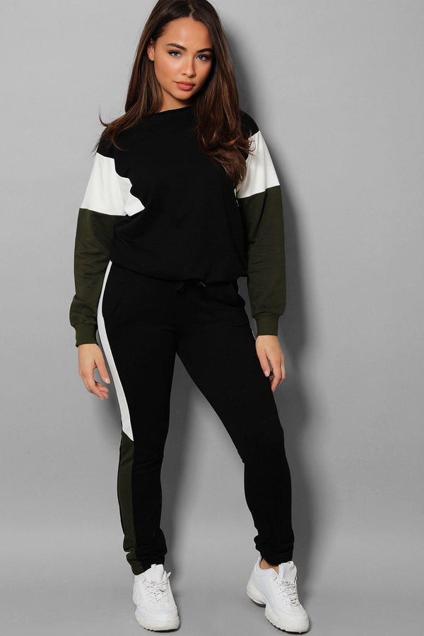 Black Khaki Colour Blocks Black 2 Piece Tracksuit - SinglePrice