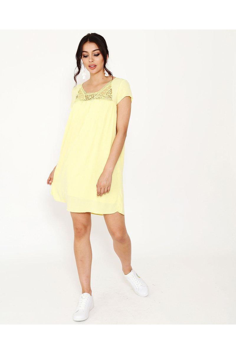 Crochet Detail Yellow Summer Dress-SinglePrice