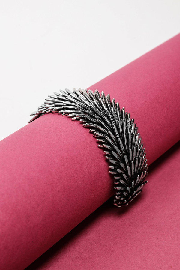 Light Silver Layered Feathers Bracelet-SinglePrice