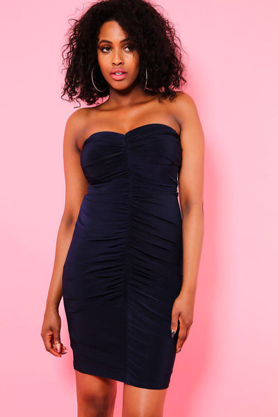 Navy Ruched Bandeau Dress-SinglePrice