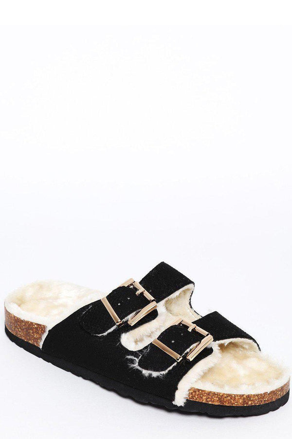 Double Buckle Faux Fur Lined Black Sliders-SinglePrice