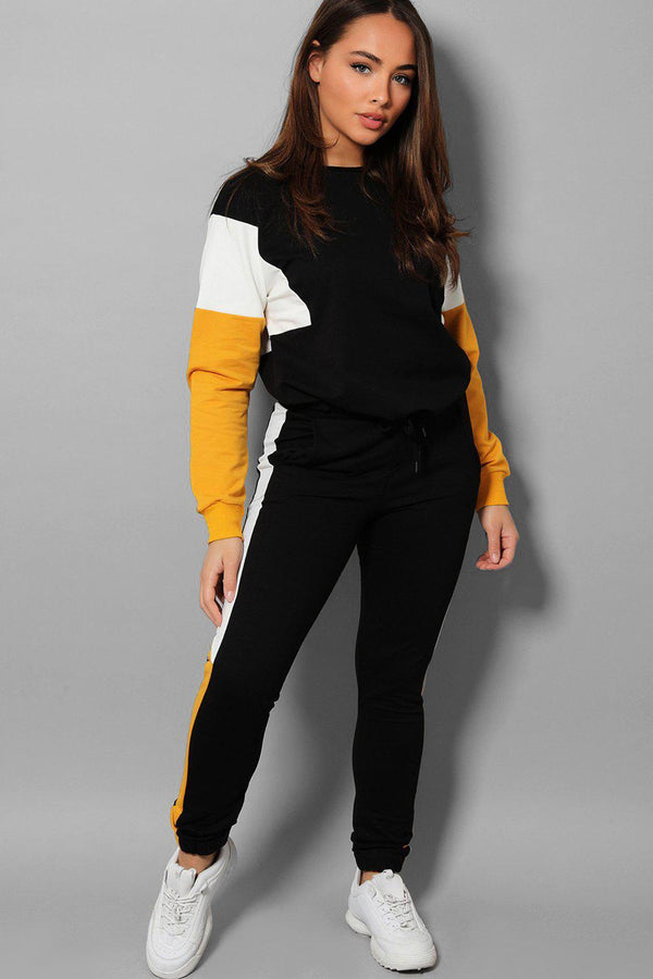 Black Mustard Colour Blocks Black 2 Piece Tracksuit - SinglePrice
