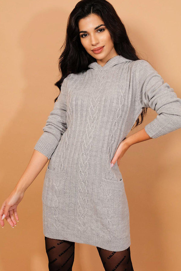 Grey Cable Knit Hooded Dress-SinglePrice