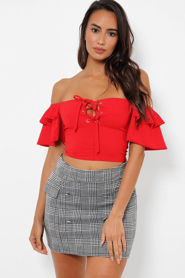 Buttons Front Dogtooth Mini Skirt