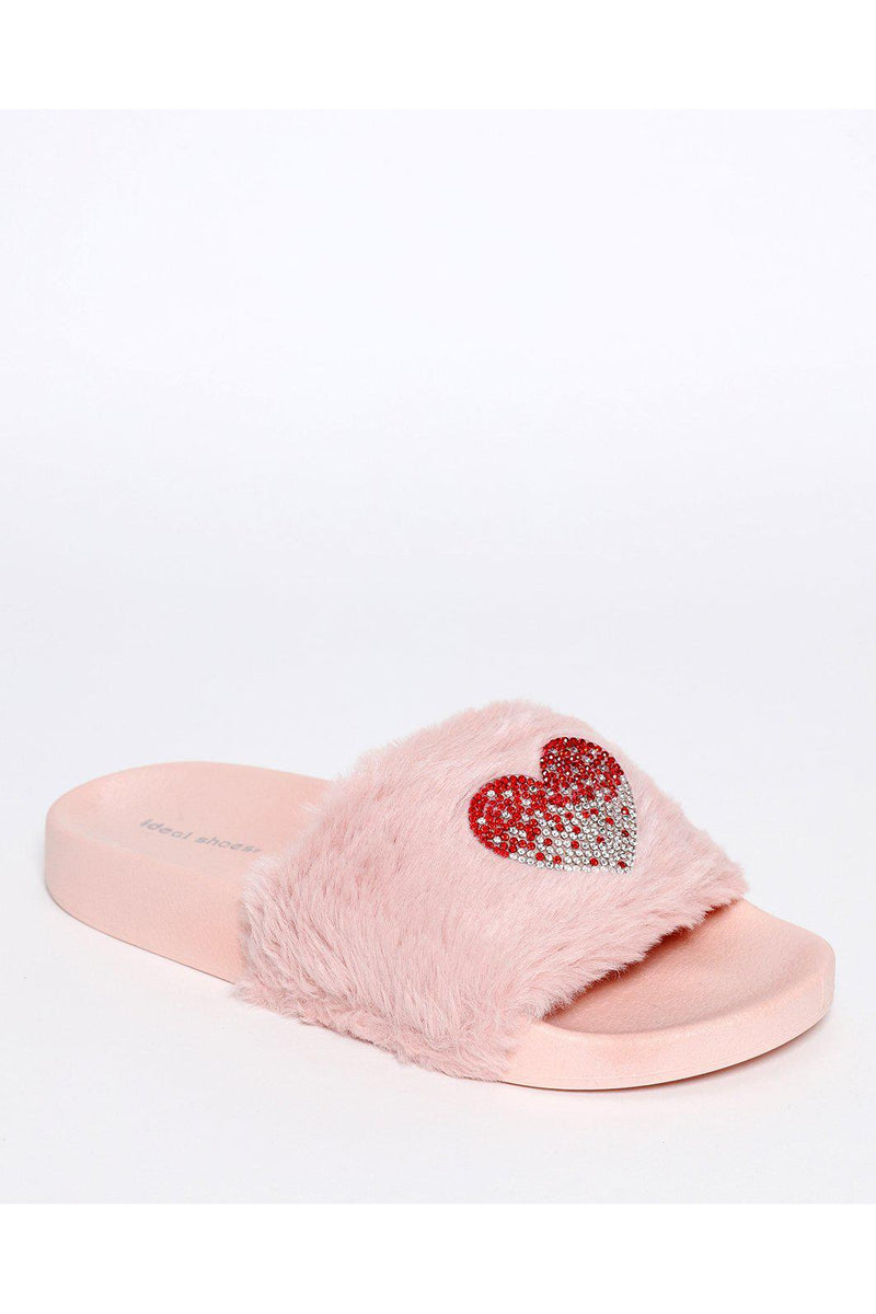 Embellished Heart Pink Faux Fur Sliders-SinglePrice