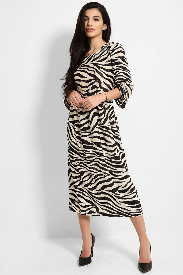 Beige Black Zebra Print Pleated Balloon Sleeves Midi Dress - SinglePrice