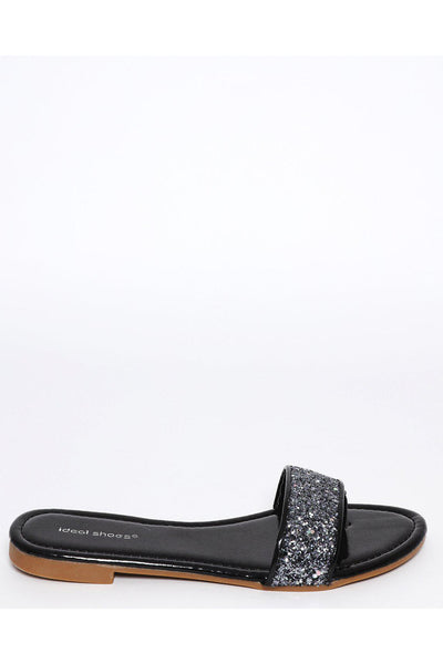 Black Glitter Post Toe Sandals-SinglePrice
