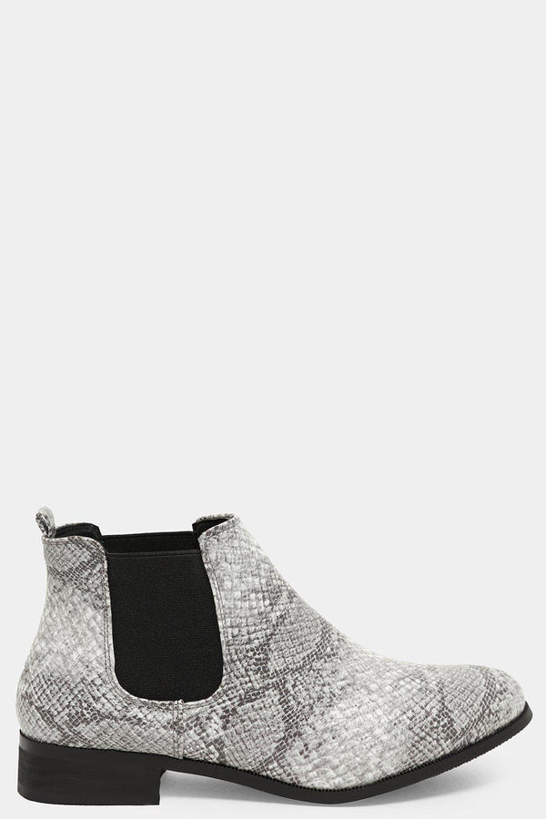 Snake Print Vegan Leather Low Chelsea Boots - SinglePrice