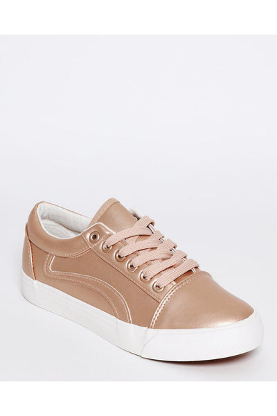 Rose Gold Metallic Finish Vegan Leather Trainers-SinglePrice