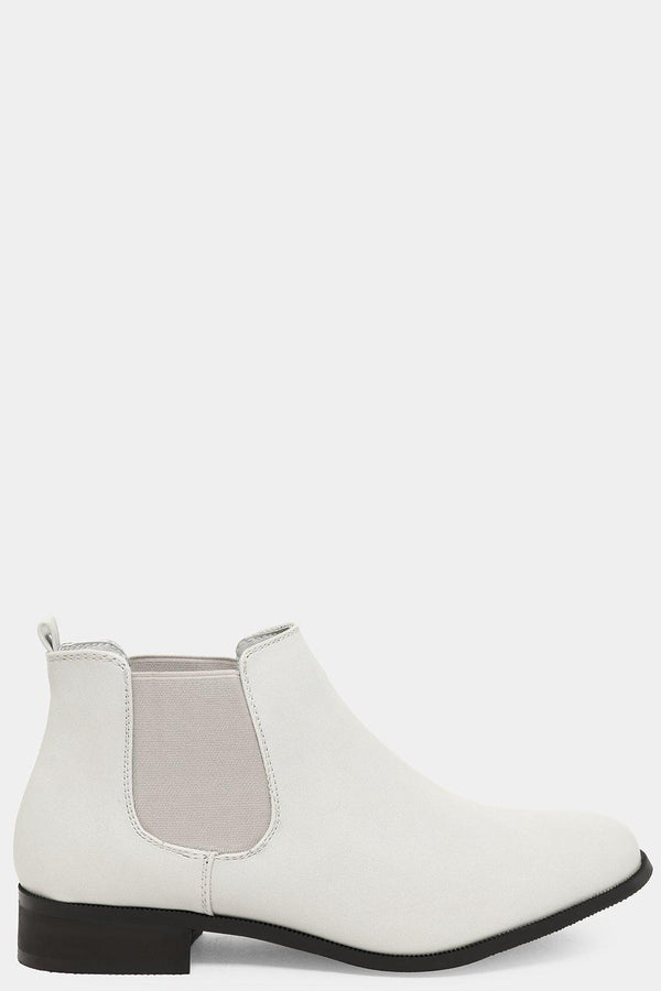 Light Grey Vegan Leather Low Chelsea Boots - SinglePrice