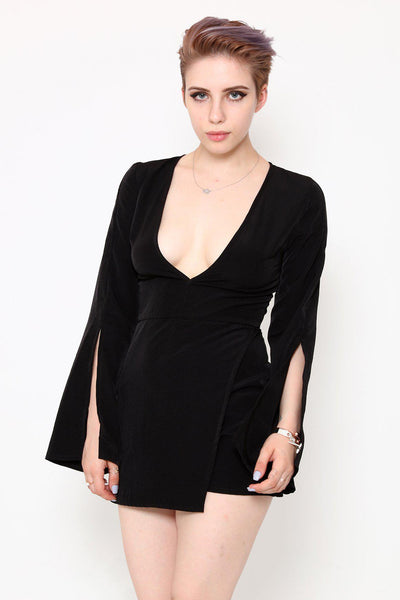 Split Sleeves Black Wrap Playsuit-SinglePrice