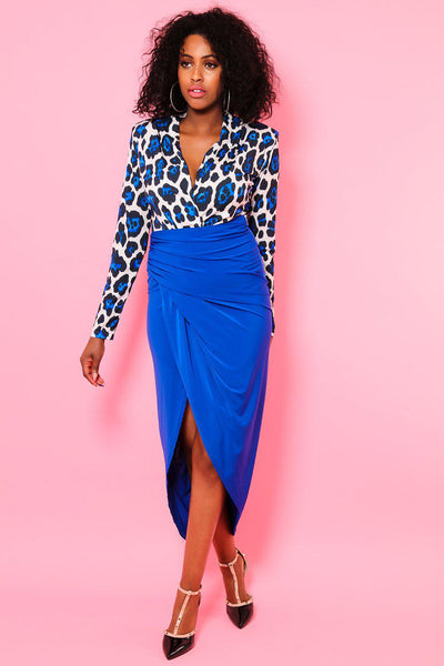 Open Leg Blue Leopard Print Dress-SinglePrice